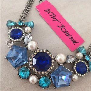 Betsey Johnson blue rhinestone bib necklace
